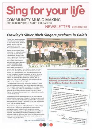 Click to view SIng for your Life Autumn 2012 newsletter