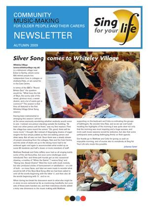Click to download Sing for your life Autumn 2009 newsletter