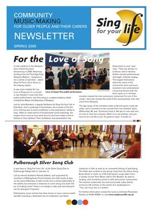 Click to download Sing for your life Spring 2009 newsletter