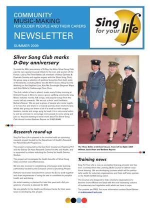 Click to download Sing for your life Summer 2009 newsletter