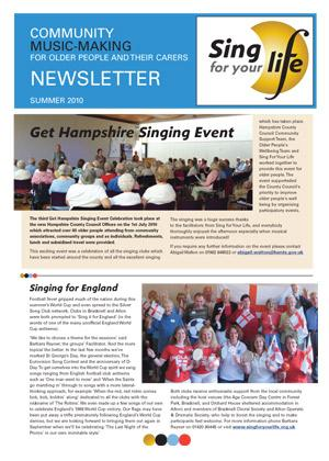 Click to download Sing for your life Summer 2010 newsletter
